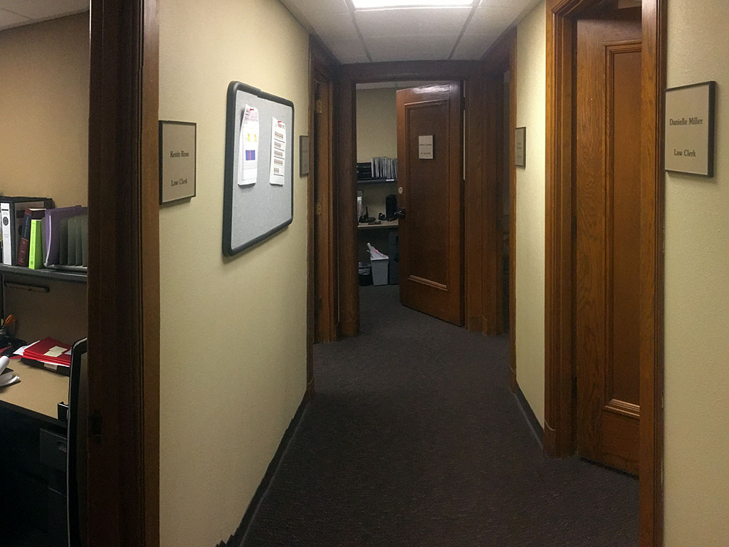 """Clerk Row"" - Our Clerks share a common hallway connecting five private offices."