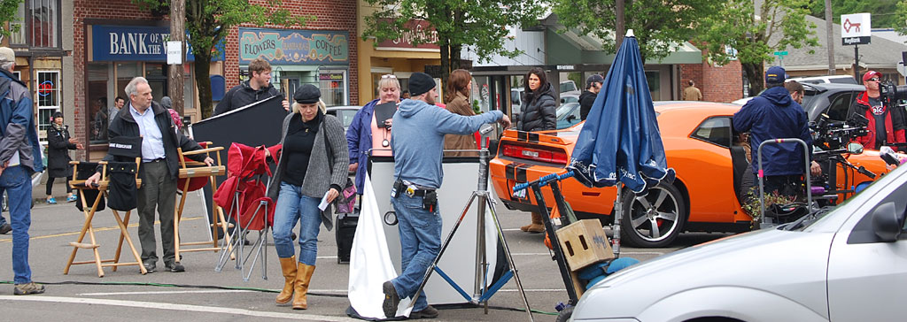 Crew on a set moving equiptment