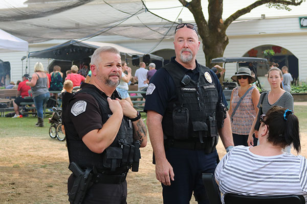 Two police officers strolling around the County Fair