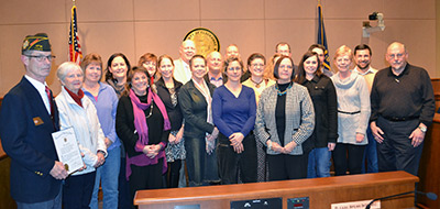 Grant recipients at the January 5, 2015, Board of Commissioners business meeting