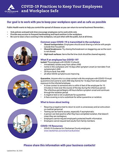 """Practices to Keep Your Employees and Workplace Safe"" poster"