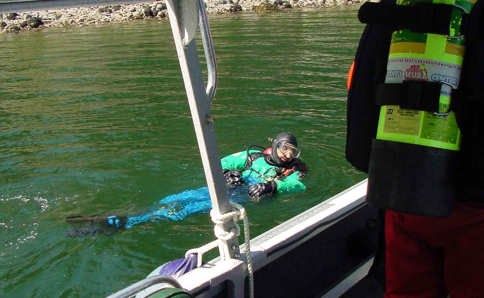 Clackamas County Sheriff's Office Dive Team member treads water