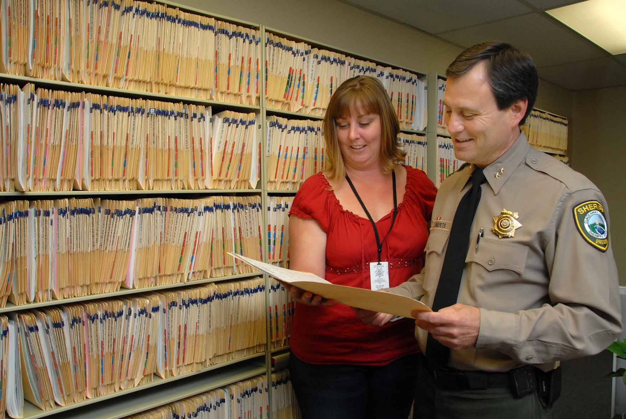 Sheriff Craig Roberts meets with staff from Support Services