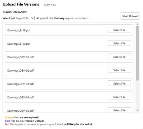 Upload File Versions window