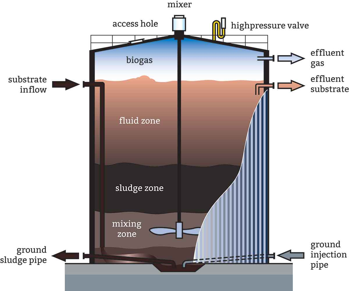 Digester cross-section