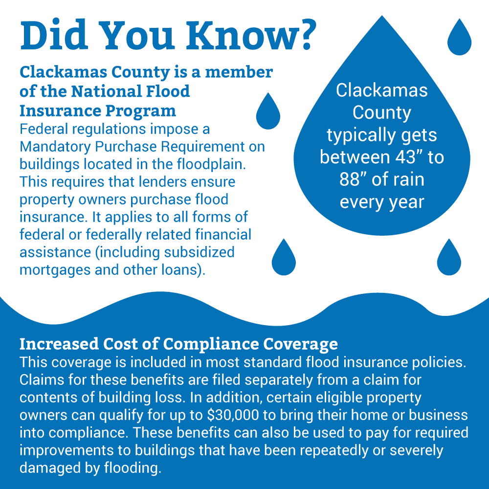 "Did You Know? Clackamas County typically gets between 43"" to 88"" of rain every year. Clackamas County is a member of the National Flood Insurance Program: Federal regulations impose a Mandatory Purchase Requirement on buildings located in the floodplain. This requires that lenders ensure property owners purchase flood insurance. It applies to all forms of federal or federally related financial assistance (including subsidized mortgages and other loans). Increased Cost of Compliance Coverage: This coverage is included in most standard flood insurance policies.  Claims for these benefits are filed separately from a claim for contents of building loss. In addition, certain eligible property owners can qualify for up to $30,000 to bring their home or business into compliance. These benefits can also be used to pay for required improvements to buildings that have been repeatedly or severely damaged by flooding."