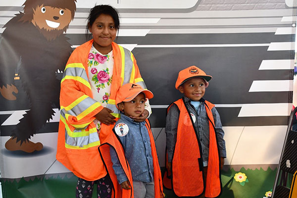 Children wearing safety jackets