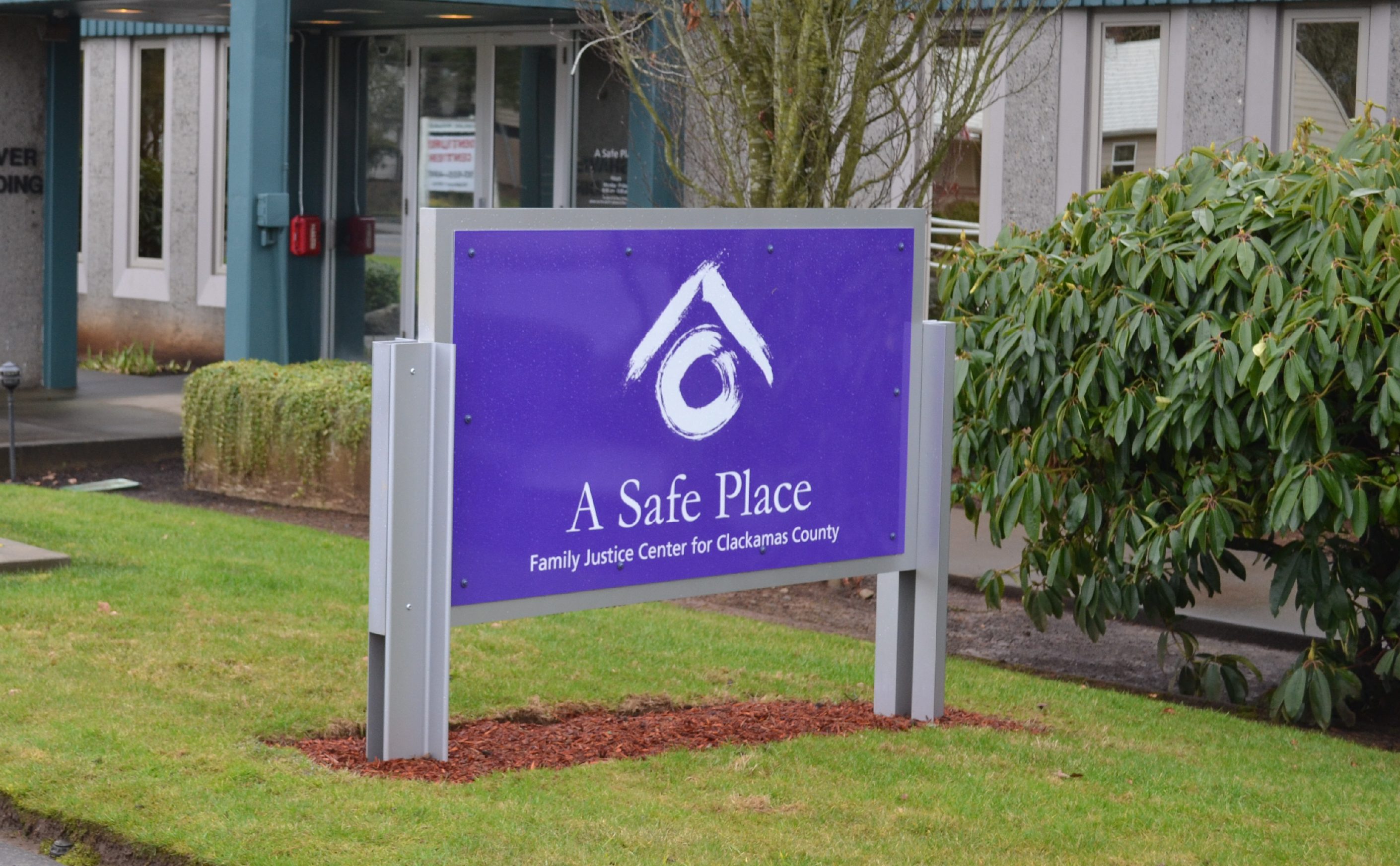 A Safe Place Family Justice Center sign