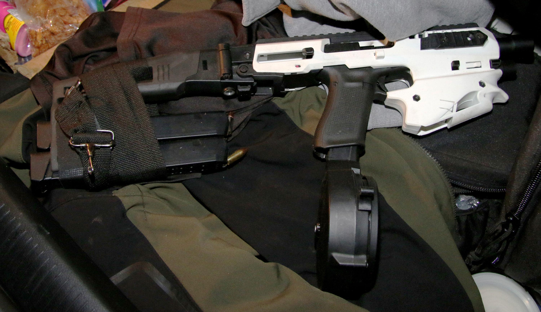Suspect weapon with drum magazine