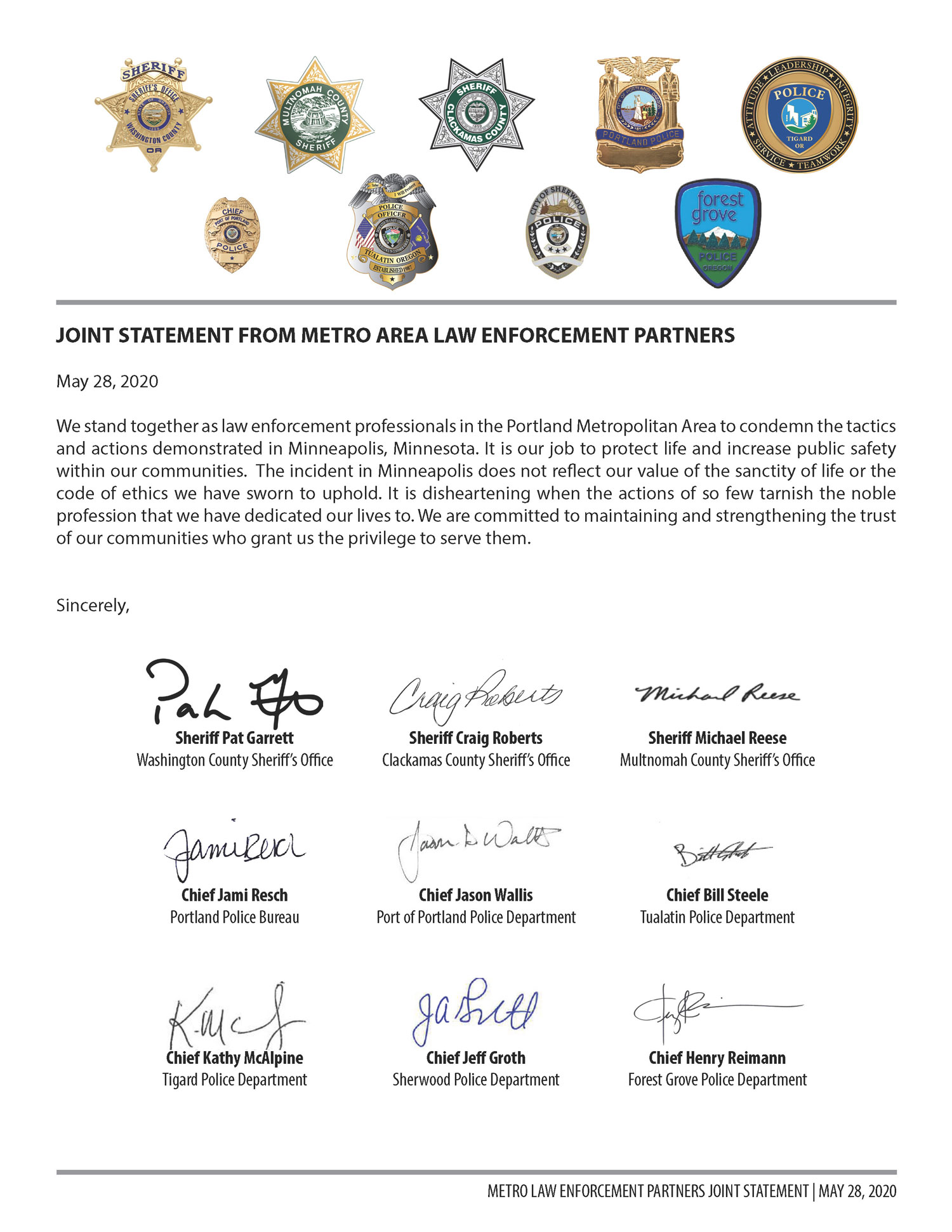 Joint Statement from Metro Area Law Enforcement Partners
