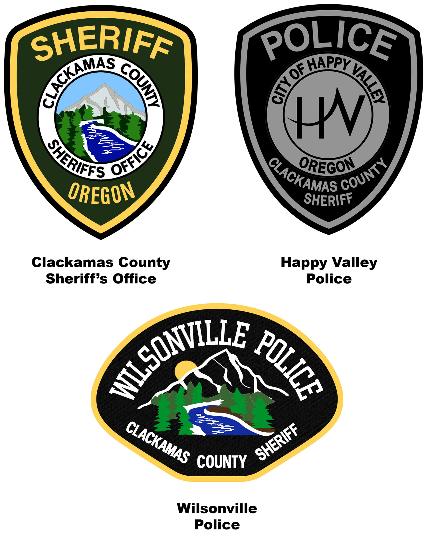 CCSO, Happy Valley PD, Wilsonville PD patches