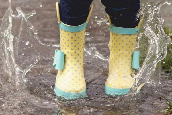 Yellow rainbooots in the puddles
