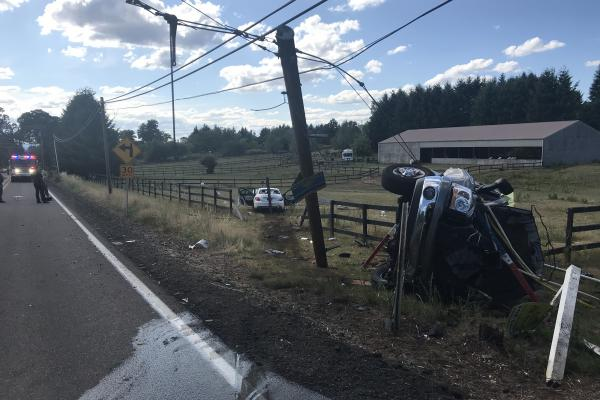 roll-over vehicle collision in the area of SW Stafford Rd and SW Newland Rd, near Tualatin