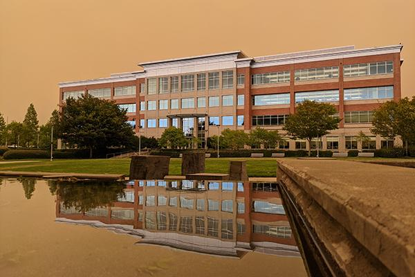 Public Services Building with smoky sky