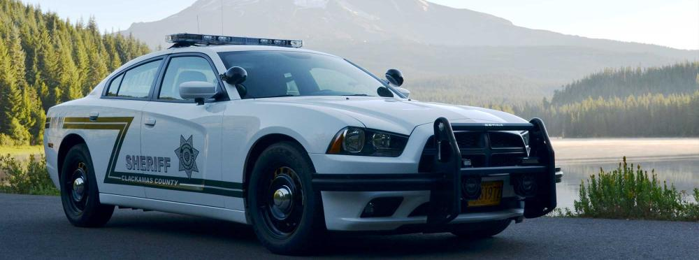 Patrol car in front of Mt Hood