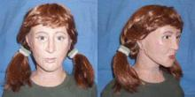Reconstruction of remains. Redhead female with ponytails