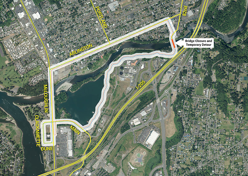 Map of 82nd Drive Bridge Project